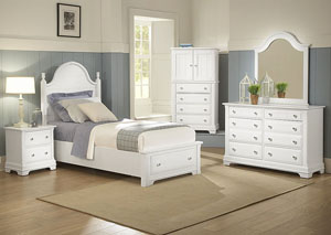 The Cottage Collection Snow White Twin Storage Bed w/ Dresser, Mirror and Vanity Chest