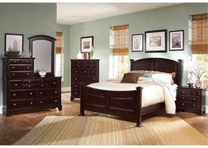 Hamilton/Franklin Merlot King Panel Bed w/ Dresser, Mirror, Drawer Chest and Nightstand