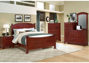 Hamilton/Franklin Cherry Queen Panel Bed w/ Dresser and Mirror
