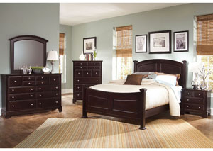 Hamilton/Franklin Merlot King Panel Bed w/ Dresser, Mirror and Drawer Chest