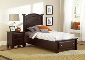 Hamilton/Franklin Merlot Twin Storage Bed