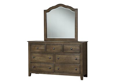 Artisan Choices Judge Gray Loft Triple Dresser - 7 Drawer /w Landscape Mirror