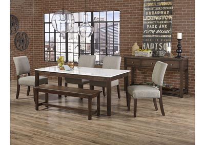 "Image for Simply Dining Gallery Kitchen Leg Table Base w/4 Upholstery Side Chair/Grey and 52"" Bench"