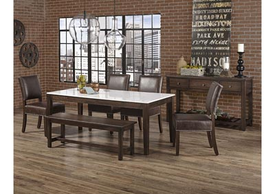 "Image for Simply Dining Gallery Kitchen Leg Table Base w/4 Genuine Leather Side Chair and 52"" Bench"
