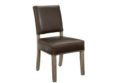 Image for Simply Dining Taupe Genuine Leather Side Chair