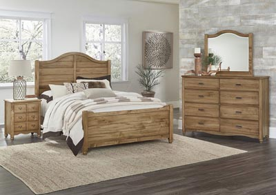 American Natural Maple Full Panel Bed w/Shiplap Headboard