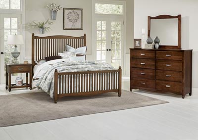 American Maple Cherry Full Panel Bed w/Slat Headboard
