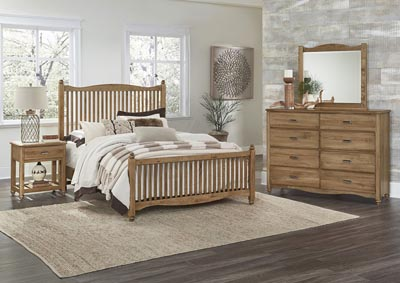 American Natural Maple Full Panel Bed w/Slat Headboard