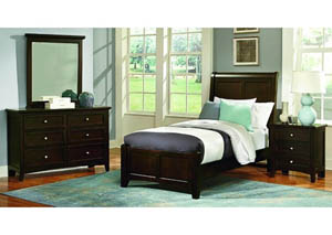 Bonanza Merlot Twin Sleigh Bed w/ Dresser, Mirror and Nightstand