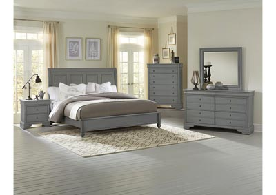 French Market Zinc Queen Sleigh Bed w/ Dresser, Mirror, Drawer Chest and Nightstand