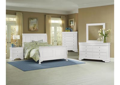 French Market Soft White King Poster Bed w/ Dresser, Mirror, Drawer Chest and Nightstand