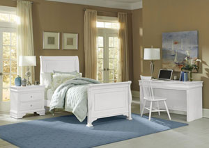 French Market Soft White Twin Sleigh Bed w/ Desk, Chair and Nightstand