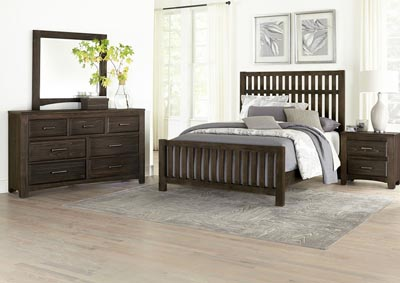 Cottage Too Coffee Slat King Panel Bed