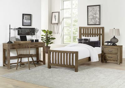 Cottage Too Grey Slat Twin Panel Bed