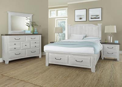 Sawmill Alabaster White Arched Queen Storage Bed