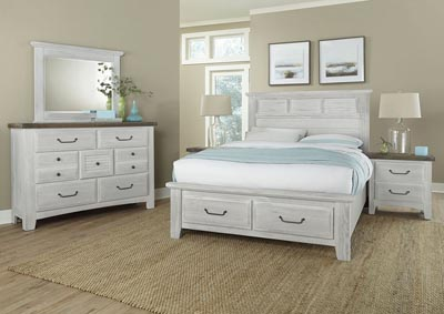 Sawmill Alabaster White Louver Queen Bed w/Dresser and Mirror