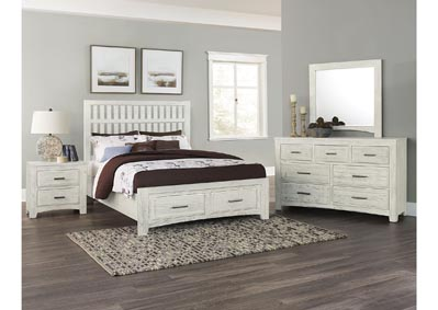 Cottage Too Mist Gray Slat  Queen Bed &Storage