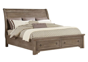 Whiskey Barrel Rustic Gray King Sleigh Storage Bed