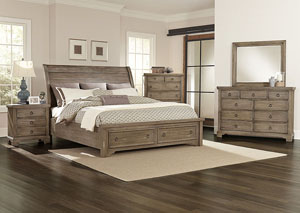 Whiskey Barrel Rustic Gray King Storage Sleigh Bed w/ Dresser, Mirror, Drawer Chest and Nightstand