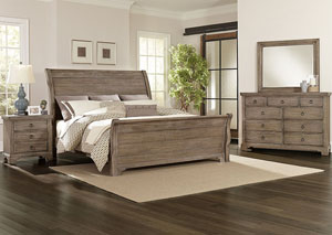 Whiskey Barrel Rustic Gray King Sleigh Bed w/ Dresser, Mirror and Nightstand