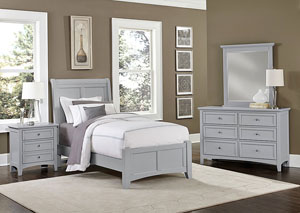 Bonanza Gray Full Sleigh Bed w/ Dresser and Mirror