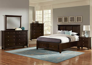 Bonanza Merlot King Storage Bed w/ Dresser, Mirror, Drawer Chest and Nightstand