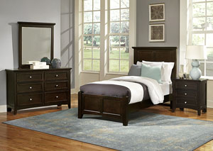 Bonanza Merlot Twin Panel Bed w/ Dresser, Mirror and Nightstand