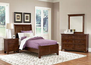Image for Bonanza Cherry Twin Sleigh Bed w/Dresser and Mirror
