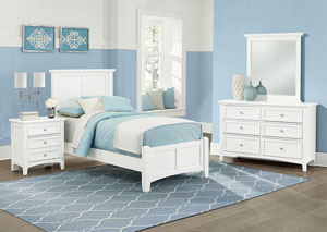 Bonanza White Twin Panel Bed w/ Dresser and Mirror
