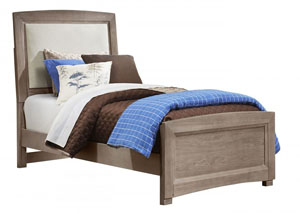 Transitions Driftwood Oak Twin Upholstered Bed