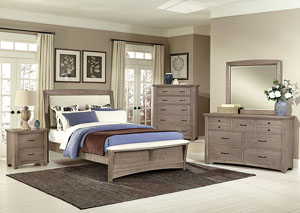 Transitions Driftwood Oak Queen Upholstered Bed