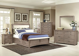 Transitions Driftwood Oak Queen Upholstered Storage Bed