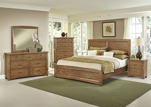 Transitions Dark Oak Queen Panel Bed w/ Dresser, Mirror, Drawer Chest and Nightstand