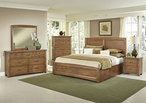 Transitions Dark Oak King Storage Bed w/ Dresser, Mirror and Drawer Chest