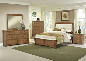 Transitions Dark Oak Queen Upholstered Bed w/ Dresser, Mirror, Drawer Chest and Nightstand