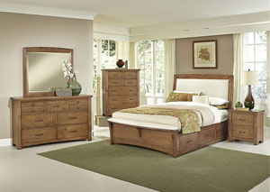 Transitions Dark Oak King Upholstered Storage Bed w/ Dresser, Mirror and Drawer Chest