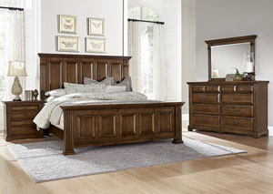 Woodlands Oak King Panel Bed w/ Dresser, Mirror, Drawer Chest and Nightstand