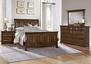 Woodlands Oak King Sleigh Bed w/ Dresser, Mirror, Drawer Chest and Nightstand