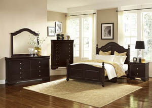 French Market Antique Merlot King Poster Bed w/ Dresser, Mirror and Drawer Chest and Nightstand