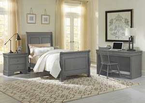 French Market Zinc Twin Sleigh Bed w/ Desk, Chair and Nightstand