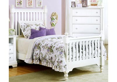 Image for Cottage Collection White Lilac Slat Poster Twin Bed